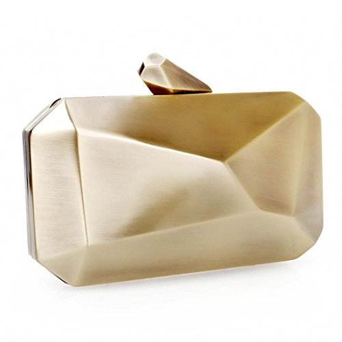 BMC Womens Smoked Antique Bronze Gold Colored Alloy Metal Abstract Stone Cut Hardcase Fashion Clutch Shoulder Chain Handbag