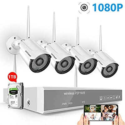 Full HD 1080P Security Camera System Wireless,SAFEVANT 8CH NVR Kits with 4PCS 2.0 MP Waterproof Bullet IP Cameras with Night Vison,Motion Detection, Remote Monitoring,1TB Hard Drive