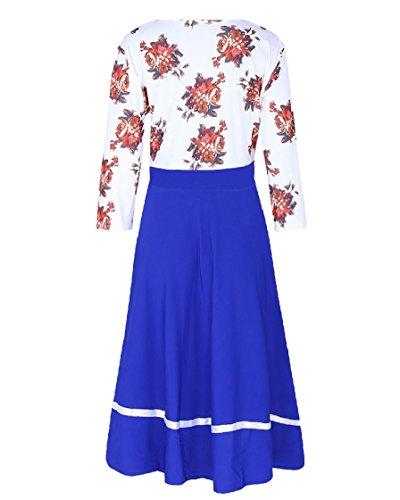 Lungo Stampa Dimensioni Vestito donne Blu Cuciture Larghi manicotto Coolred Eleganti Metà Lavorano wtdqv88P