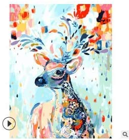 Colorful Dog DIY Oil Painting by Number Kit Frameless Digital Paint Canvas Brushes for Adults Kids Beginner 40 x 50cm Style B