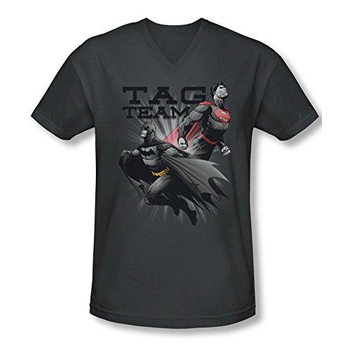 Justice League Of America DC Com Tag Team Batman & Superman Adult V-Neck T-Shirt