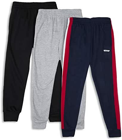Hind Boys 3-Pack Fleece Jogger Sweatpants for Athletic & Casual Wear