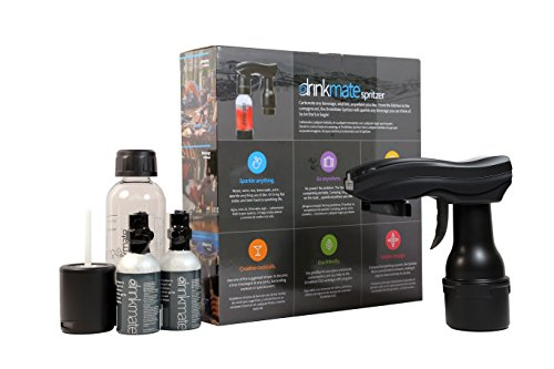 Drinkmate 420-02-3Z Spritzer Portable Sparkling Water And Soda Maker Drink, With .5L Re-Usable BPA-Free Carbonating Bottle, Two 3 Oz CO2 Cylinders And Patented Fizz Infuser, Matte Black