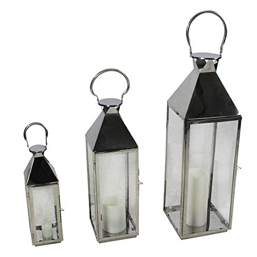 Melrose Set of 3 Stainless Steel and Glass Pillar Candle Holder Lanterns 35