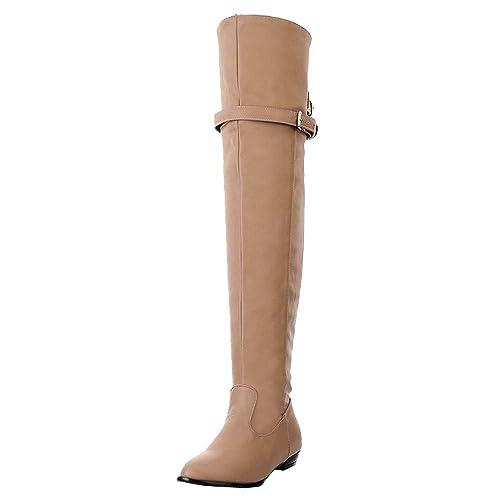Cat Bottes Femme❤️Boot Winter Bottes Bottines Rouges Bottines Cuir Femme Longues Knight Boots Chaussure Talon TêTe Ronde Boucle Haute Ceinture Bottes