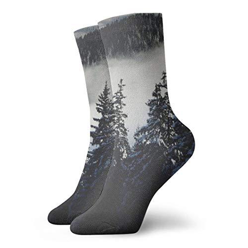 Unisex High Ankle Cushion Crew Socks Fog In Mountain Casual Sport - Light Mountain Laurel