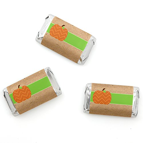 Big Dot of Happiness Pumpkin Patch - Fall & Thanksgiving Mini Candy Bar Wrappers Party Favors - 20 Count