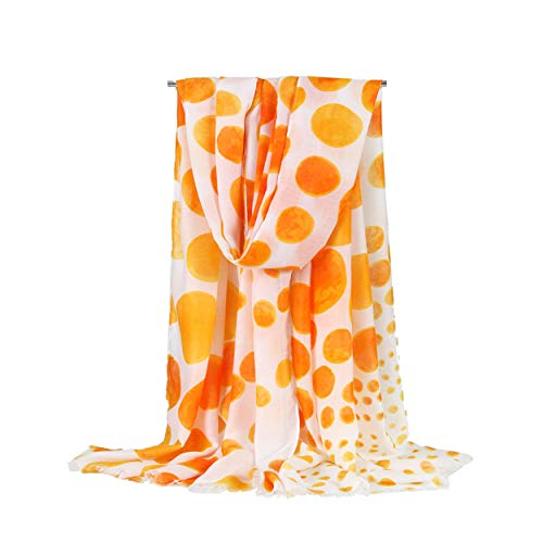 Women's Soft Lightweight Fashion Charming Polka Dot Scarf Shawl Wrap - Dot Yellow