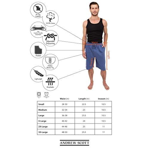 ANDREW SCOTT Mens Pack of 3 Soft /& Light 100/% Cotton Drawstring Yoga Lounge /& Sleep Pant