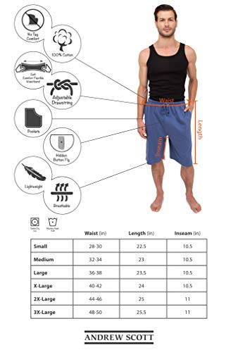 Andrew Scott Mens 3 Pack Soft /& Light Cotton Drawstring Yoga Lounge /& Sleep Jam Shorts//Jersey Shorts with Pockets