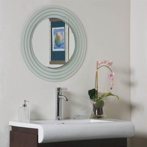 Isabella Oval Mirror - Decor Wonderland SSM9998 Isabella Round Frameless Bathroom Mirror,