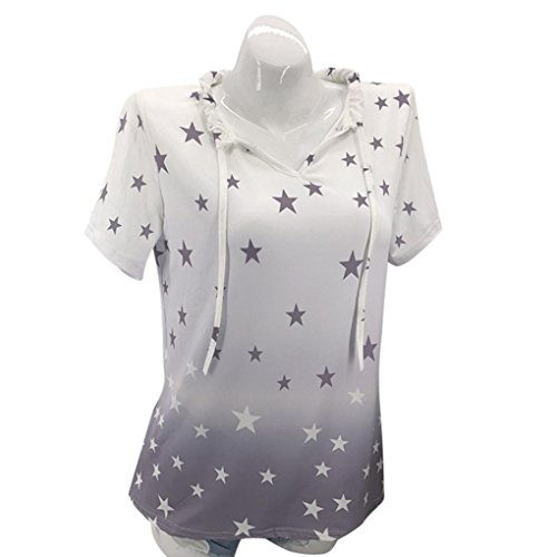 Neck Star Print - Clearance! Women Blouse Daoroka Ladies Plus Size Short Sleeve Star Print Round Neck Casual Loose Tunic Tops Fashion Summer Autumn Comfort Cute Pullover T Shirts