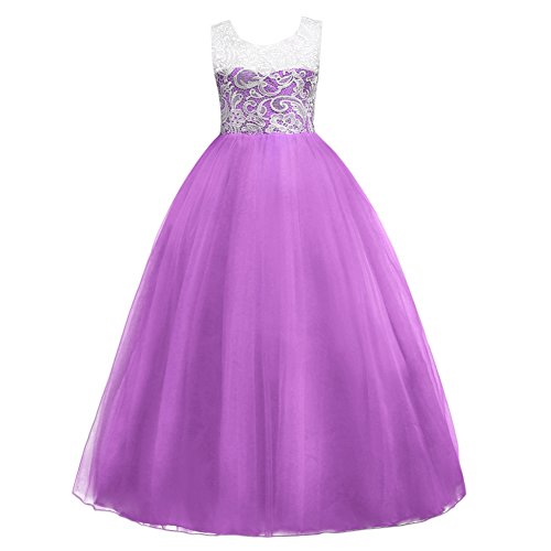 5-16T Little Big Girls Floor Length Lace Tulle Bridesmaid Dress Flower Wedding Pageant Party Prom Long Maxi Evening Dance Gown Purple