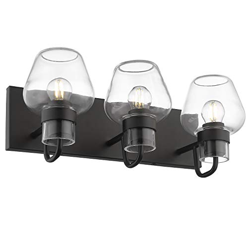 Bathroom Vanity Lights, Beionxii 3-Light Industrial Black Bath Vanity Lighting Fixtures, Black Finish with Brandy Glass – Brandy Glass Series