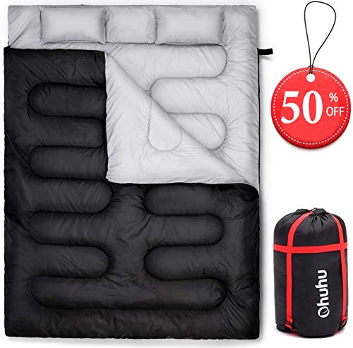 Ohuhu Double Sleeping Bag with 2 Pillows, 20 Degree Winter Sleeping Bag, for Camping Hiking and Travel
