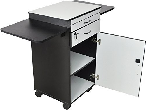 Luxor WPSDD3 Wood Multimedia Workstation Cart, 38 inches High; Durable Black/Gray Laminate Finish (Locking Cabinet Carts)