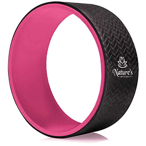 Natures Integrity Yoga Wheel 13 - [Elite Series] - Strongest and Most Comfortable Dharma Yoga Roller for Stretching, Back Pain, and Backbends - Thick Padding, Eco-Friendly, Exercise Guide Included