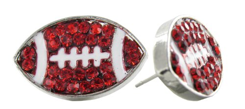 Flat Football Rhinestone Stud Earrings - Red Crystal Football with White Enamel Stripes
