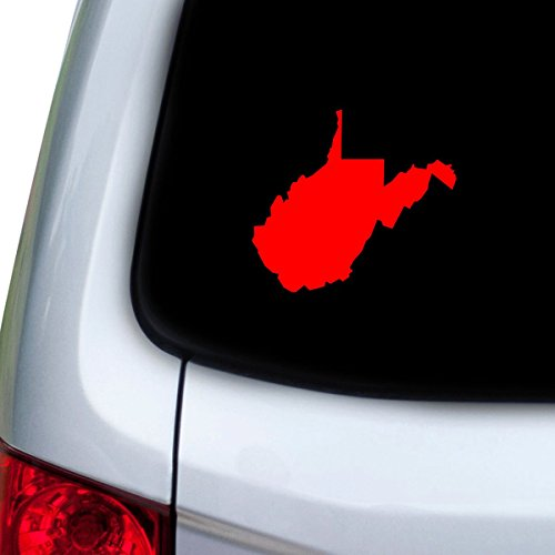 StickAny Car and Auto Decal Series West Virginia WV Sticker for Windows, Doors, Hoods (Red) (Virginia Parts Auto)