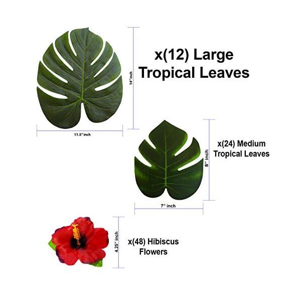 84-pcs-Hawaiian-Party-Decorations-14-Tropical-Artificial-Leaves-12-pcs-8-Monstera-Palm-Simulation-Leaf-24-pcs-Faux-Hibiscus-Flowers-48-pcs-Luau–Beach–Jungle–Parties-Dcor