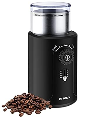 Coffee Grinder, Stainless Steel Blade Grinds Coffee Beans, Grains and Nuts, Electric Grinder 5 Stalls 4 Cups Optional from Xunooo