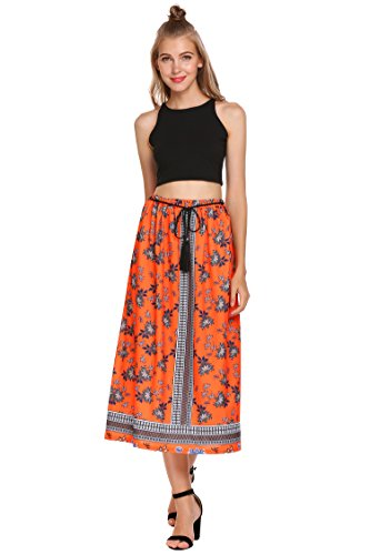 (Women's Embroidered Broom Long Peasant Skirt - Enzyme Wash)