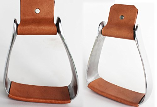 PRORIDER Horse Saddle Angled Slanted Sloped Aluminum Stirrups Leather X-Large 6″ 5195