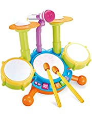Children Electronic Musical Drum Set Kids Jazz Drum Toy with Microphone & Drumstick Musical Educational Instrument Toy (Color : Green)