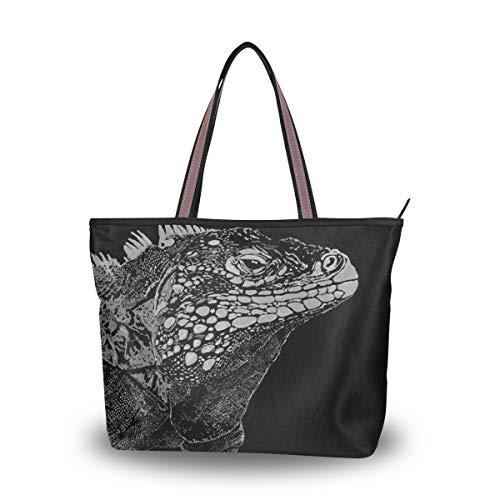 - Tote Bag with Iguana Lizard Reptile Print, Shoulder Bag Handbag for Travel Shopping Picnic Beach