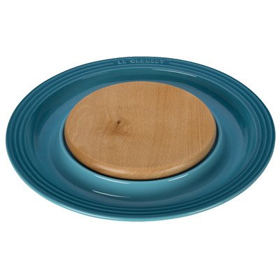 Stoneware Chip (Round Platter with Cutting Board Chip and Dip Tray Color: Caribbean)