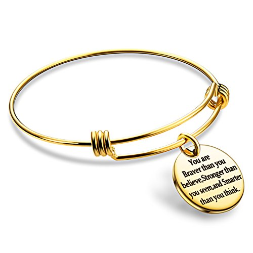 lauhonmin You are Braver Stronger Smarter Than You Think Inspirational Bracelet Expandable Bangle Gift for Women Men (Gold Color Stainless - Bangle Gold Steel Stainless