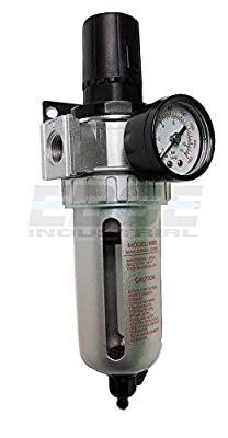 "In-line Compressed Air Filter Regulator Combo Piggyback, 1/2"" Npt Ports, 105 Cfm, Poly Bowl And Guard, 5 Micron Element"