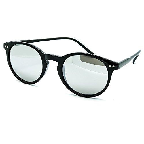 RONDE homme VAGUE Noir Argent Miroir Lunettes Kiss unisexe style MOSCOT arrière mod femme de soleil de le FEU pHzPq