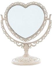 XPXKJ Mirror 7-Inch Heart Shaped Mirror Tabletop Vanity Makeup Mirror Beauty Mirror with 3X Magnification Vintage Mirror, Bathroom Bedroom Dressing Mirror (Beige Heart-Shaped)