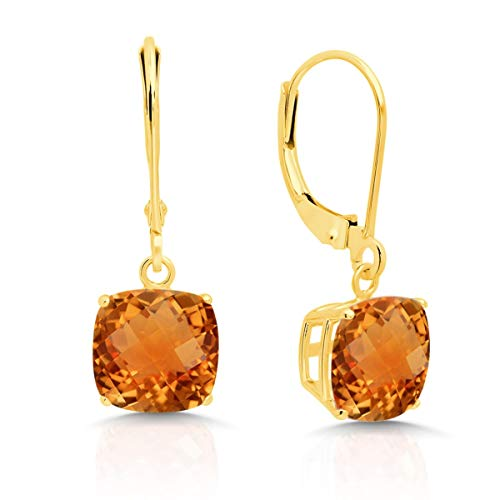 14k Yellow Gold Citrine Dangle Leverback Earrings (8mm) ()