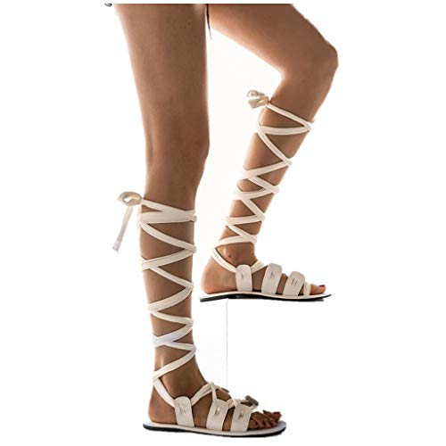 Cenglings Womens Knee High Gladiator Sandals Flat Lace Up Strappy Summer Shoes Flat Sandals White