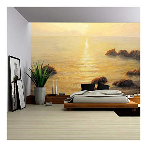 Colorful Golden Sunrise with Sunpath on The Sea Surface Painted on The