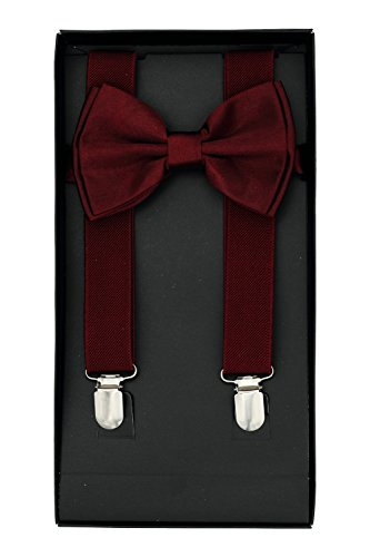 Buha Suspenders for Men, 2 in 1 Suspenders and Bow Tie, Mens Outfits Casual Suspender and Bow Tie Special Edition (Burgundy)