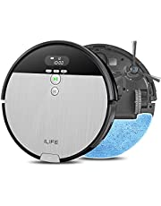ILIFE V8s, 2-in-1 Robot Vacuum and Mop, Big 750ml Dustbin,Enhanced Suction Inlet,Zigzag Cleaning Path,Ideal for Pet Hair,Self-Charging Robotic Vacuum, LCD Display,Schedule,Ideal for Hard Floor…