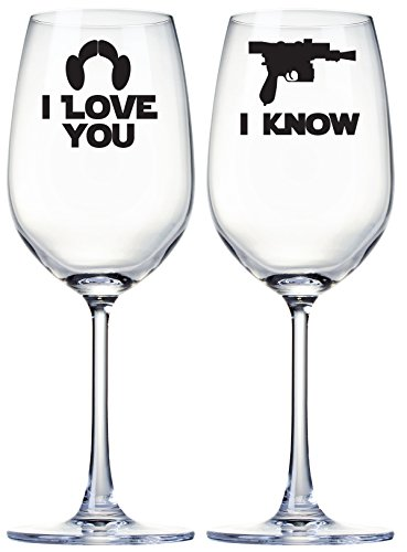 I Love You I Know Wine Glasses Star Wars Inspired Quote Set of ()