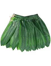 BOSHENG Ti Leaf Hula Skirt Luau Party Accessory Green Short Skirt Toddler Size