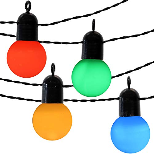 door LED String Lights with 20 Globe Bulbs, 24-Foot Lighted Length, Weather-Resistant UL-Listed ()