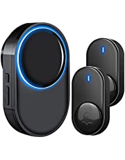 Wireless Doorbells for Home, Satisure Waterproof Doorbell Alarm Kits Operating at 1000 Feet with 58 Melodies, 5 Volume Levels & LED Flash