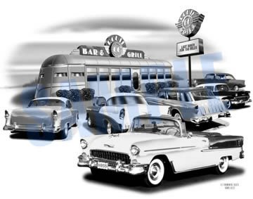 (1955 Chevy Bel Air Convertible Art Print)