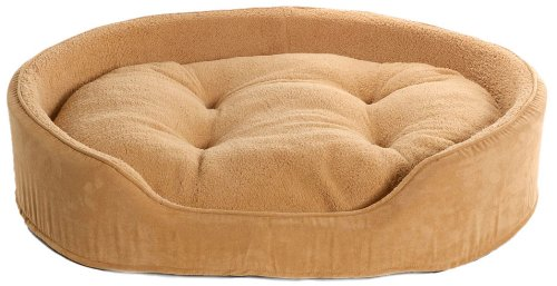 Furhaven Pet NAP Oval Terry Fleece and Suede Bed for Dog or