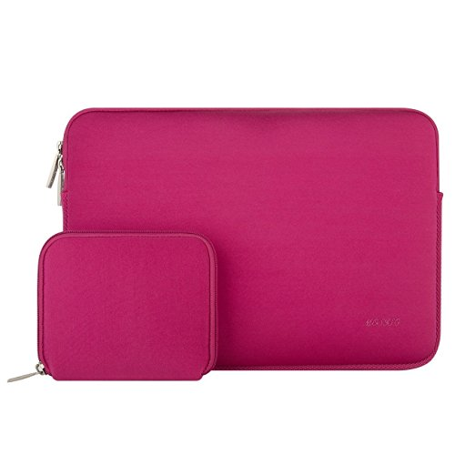 Mosiso Laptop Sleeve Bag for 15 Inch New MacBook Pro with Touch Bar A1707 2017 / 2016 with Small Case, Also Fit 14 Inch Notebook Computer Ultrabook, Water Repellent Lycra Cover, Rose Red