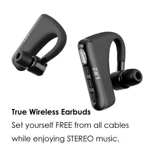 Frewico LR2PLUS True Wireless Bluetooth Headphones Stereo 7 Hours Ear Hook Style Truly Wireless Headset Earbuds Earphones with Mic for iPhone Android iOS Devices (Black)