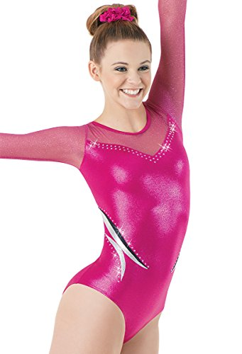 Balera Gymnastics Long Sleeve Leotard With Rhinestone And Mesh Peony/Berry Fuc Adult Small