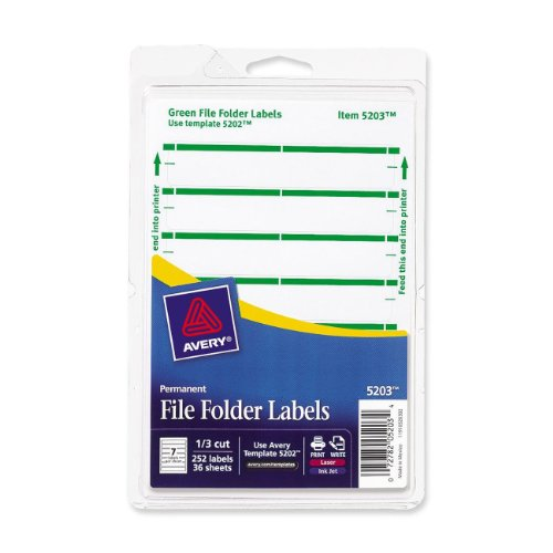 Avery 5203 Print or Write File Folder Labels for Laser and Inkjet Printers, 1/3 Cut - Green (Pack of 252) for sale
