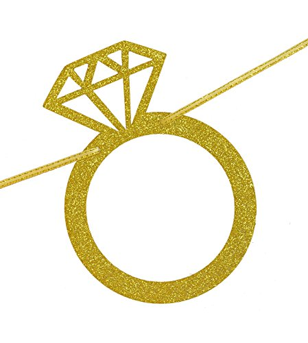 FECEDY Engaged Banner Gold Glittery Letters and Diamond Ring for Party  Decorations